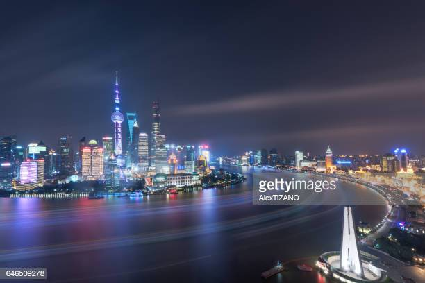 Nightscape of Shanghai Skyline