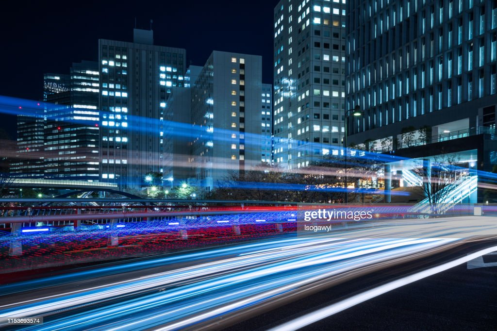 Nightscape Of Tokyo Business District : ストックフォト