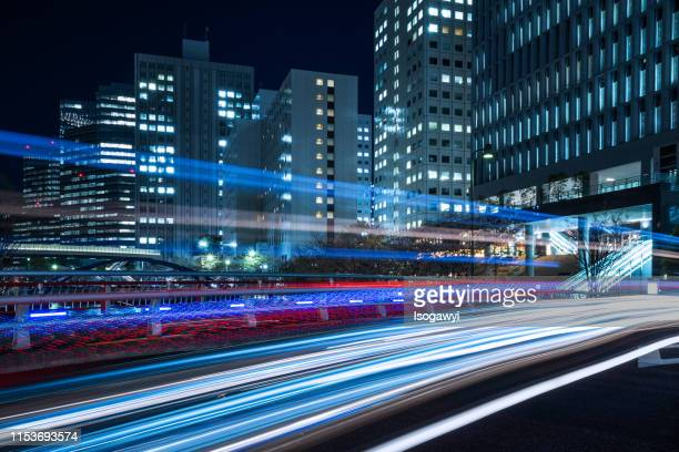 nightscape of tokyo business district - isogawyi bildbanksfoton och bilder