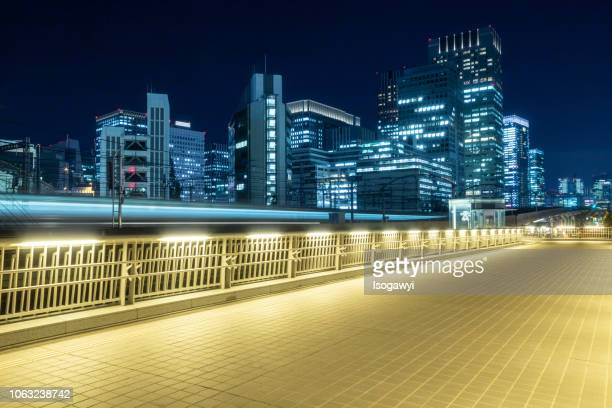 nightscape of tokyo city and train light trails - isogawyi stock pictures, royalty-free photos & images