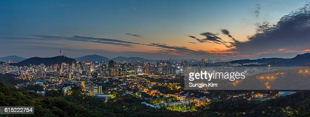 Nightscape of urban skyline of central Seoul