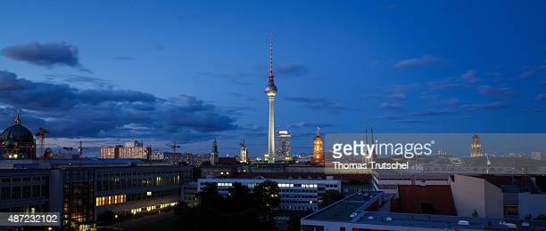 Nightshot of Alexanderplatz square and the Berliner Fernsehturm broadcast tower on September 07 2015 in Berlin Germany