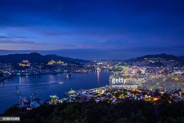 Nightshot of Nagasaki Bay in Japan