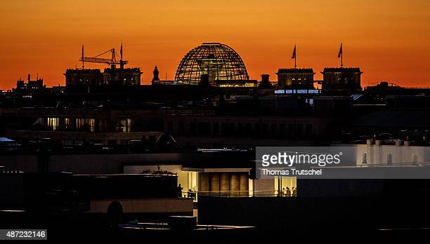 Nightshot of the Dome of Reichstag Building on September 07 2015 in Berlin Germany