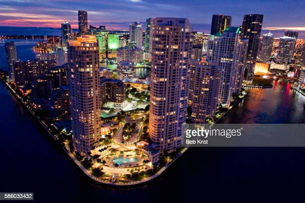 Nighttime aerial view of downtown Miami, Florida, USA