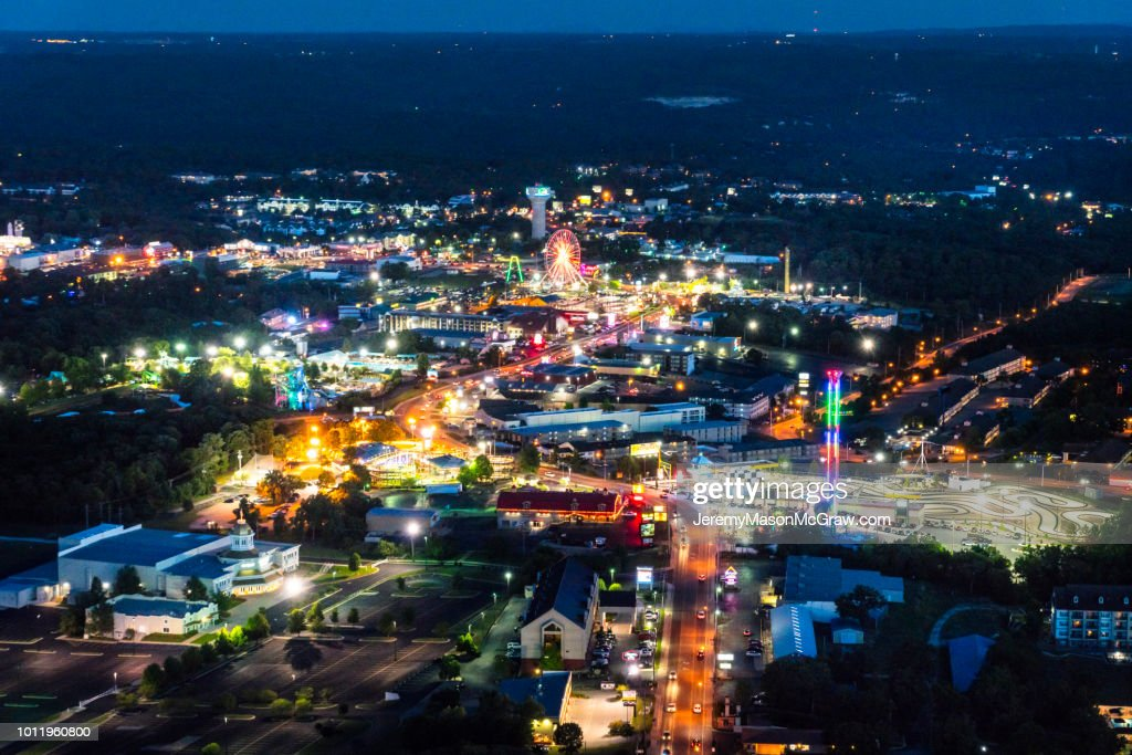 Nighttime Aerial View Of Hwy 76 Branson Missouri High-Res