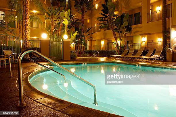 Nighttime Apartment or Hotel Pool Area