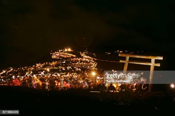 Nighttime Ascent of Mt. Fuji