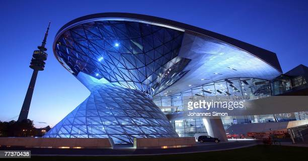 Nighttime exterior view of the BMW World hours after the opening ceremony on October 17 2007 in Munich Germany BMW World is a representative...
