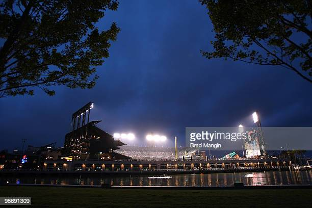 Nighttime general overall exterior view of AT&T Park with McCovey Cove in the foreground during the game between the Philadelphia Philles and the San...