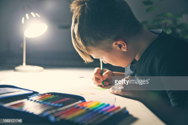night-time homework - pencil case stock pictures, royalty-free photos & images