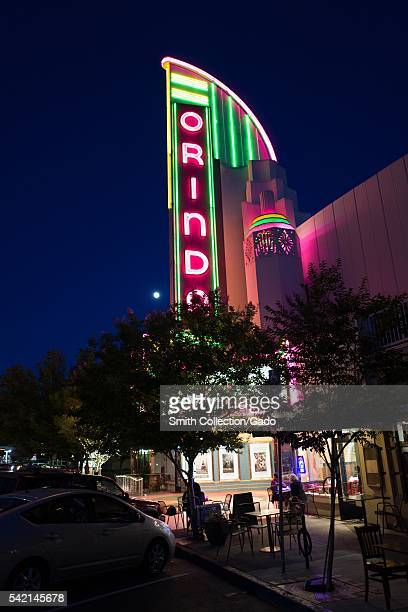 Nighttime image of the marquee for the Orinda Theater an artdeco style theater which originally opened in 1941 and continues to operate in Orinda...