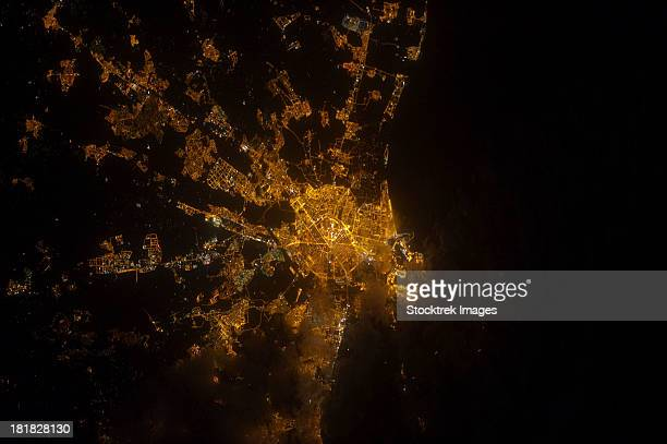 Nighttime image of Valencia on the Mediterranean coast of Spain.
