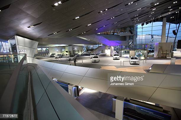 Nighttime interior view of the BMW World seen after the opening ceremony on October 17 2007 in Munich Germany BMW World is a representative...