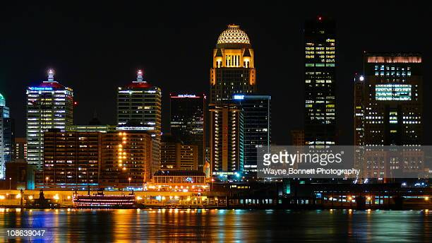 Nighttime landscape of downtown Louisville, KY