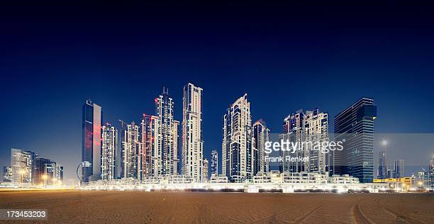 Nighttime panoramic skyline in Bussiness Bay