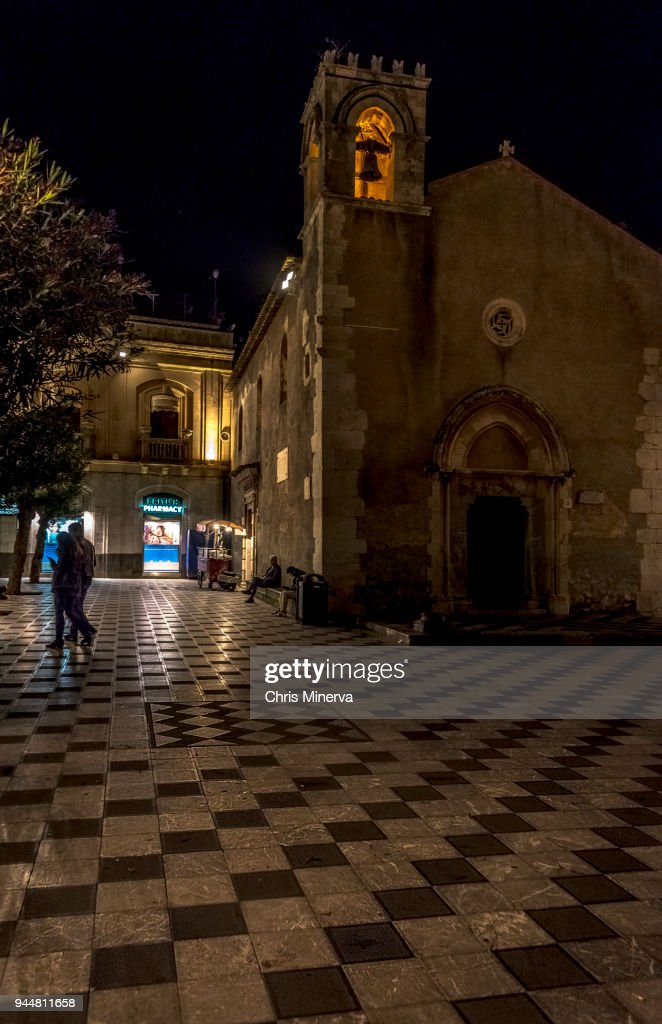 Nighttime Shot of Saint Augustine Church, Taormina, Italy : Stock Photo