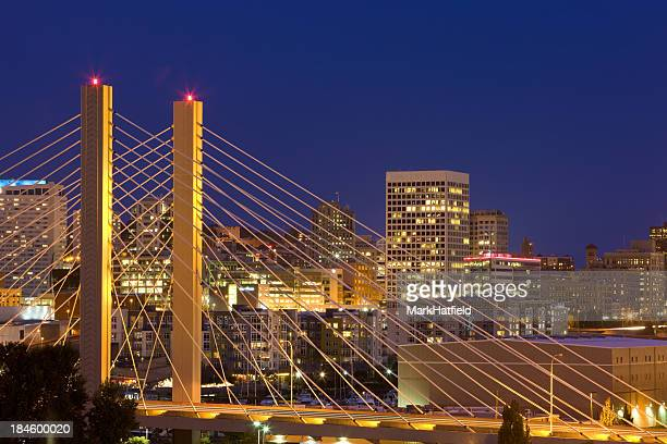 Nighttime skyline bridge view on Tacoma, Washington