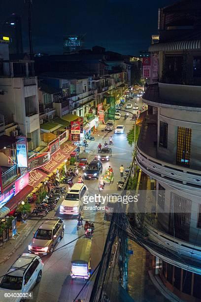 Nighttime Street Scene In Phnom Penh, Cambodia