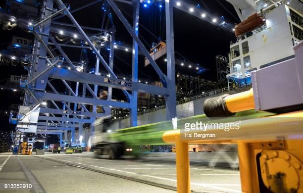 Nighttime Unloading of Container Ship