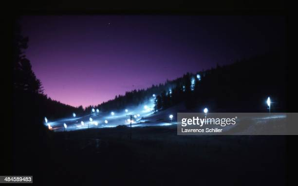 Nighttime view of a ski slope of manmade snow Southern California 1965