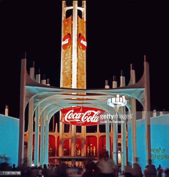 Nighttime view of CocaCola's 'World Of Refreshment' pavilion in Flushing Meadows Park during the World's Fair in Queens New York New York June 1965