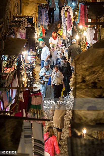 A nighttime view of one of the old town streets in Jerusalem The Palestinian Territories as seen on November 04 2013