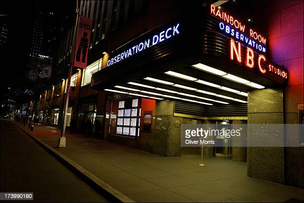 A nighttime view of the illuminated marque of the NBC Studios and the Rainbow Room located in the General Electric Building Midtown Manhattan New...