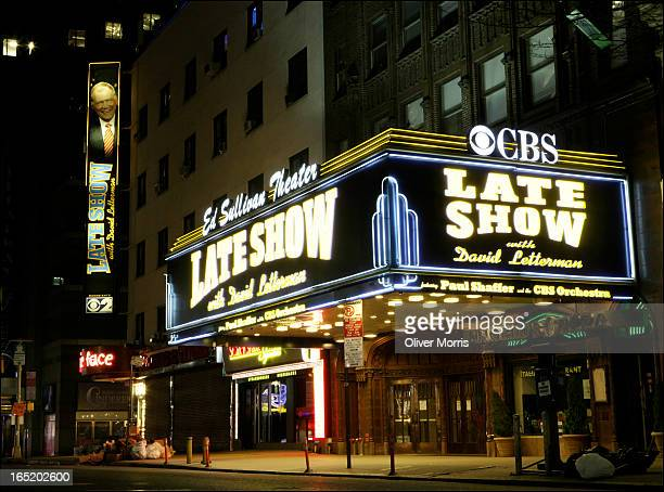 Nighttime view of the marquee of the Ed Sullivan Theater which advertises the CBS television program 'Late Show with David Letterman' New York New...