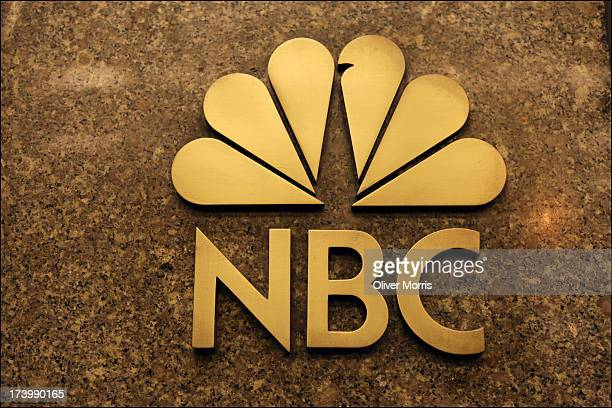 Nighttime view of the NBC logo at the entrance to the General Electric Building where the NBC Studios and the Rainbow Room are located, Midtown...