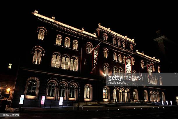Nighttime view of the New York Public Theater , Manhattan's East Village neighborhood, New York, New York, April 16, 2013. The Theater is home to the...