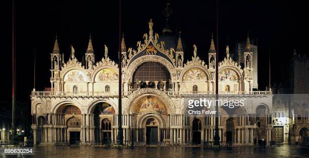 Nighttime view of the Plaza San Marco Venice Italy May 9 2017