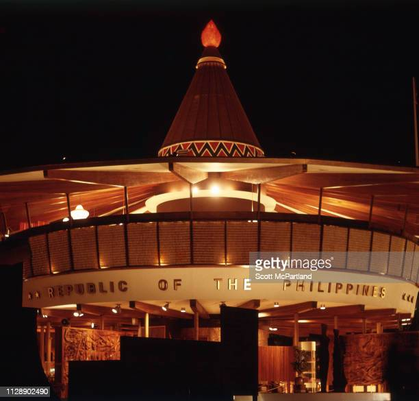 Nighttime view of the Republic of the Philippines Pavilion during the World's Fair in Queens New York New York June 1965