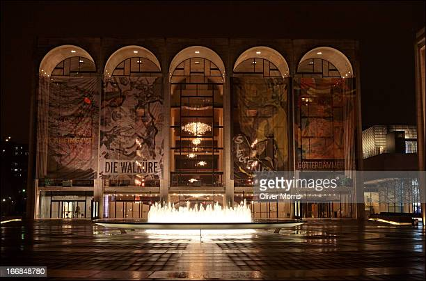 Nighttime view of the Revson Fountain and the Metropolitan Opera House at the Lincoln Center for the Performing Arts, New York, New York, March 31,...