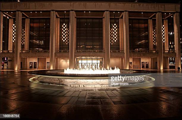 Nighttime view of the Revson Fountain outside the David H. Koch Theater at the Lincoln Center for the Performing Arts, New York, New York, March 31,...