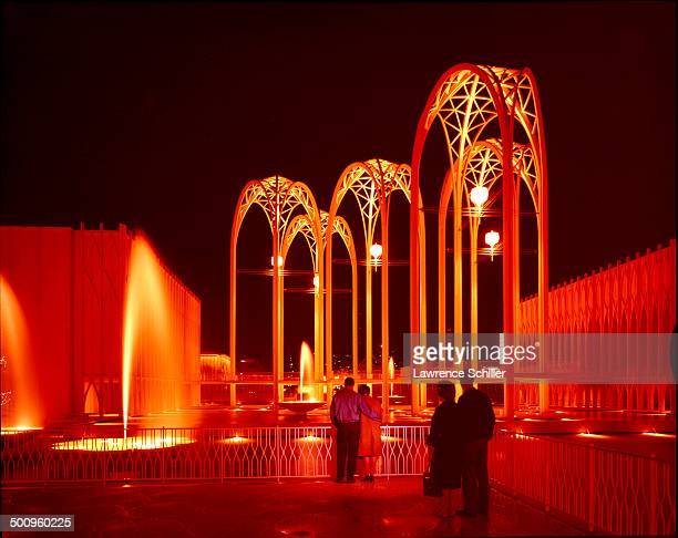 Nighttime view of United States Science Pavilion at the Century 21 Exposition Seattle Washington 1962 Designed by architect Minoru Yamasaki the...