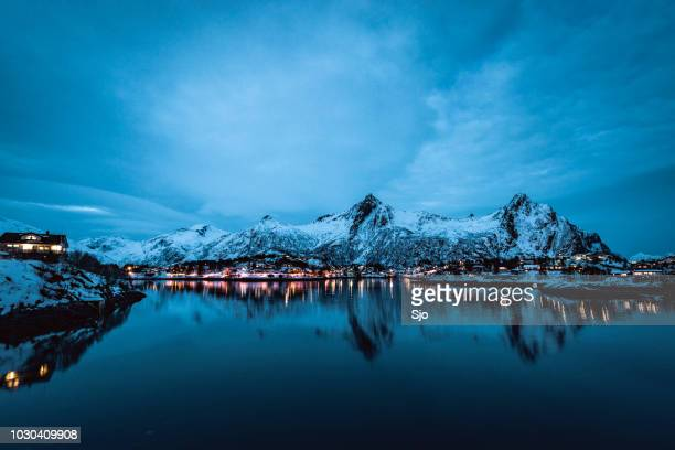NIghttime view over the town of Svolvaer in the Lofoten in Norway