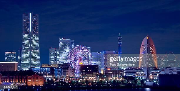 nightview of minato mirai, yokohama. - yokohama stock pictures, royalty-free photos & images