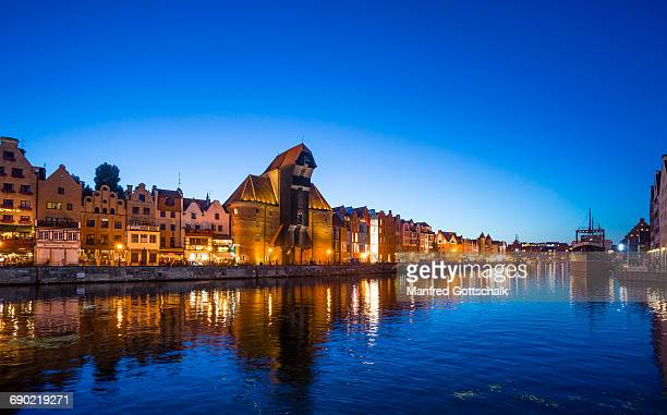 nightview of mottlau river gdansk - motlawa river stock pictures, royalty-free photos & images