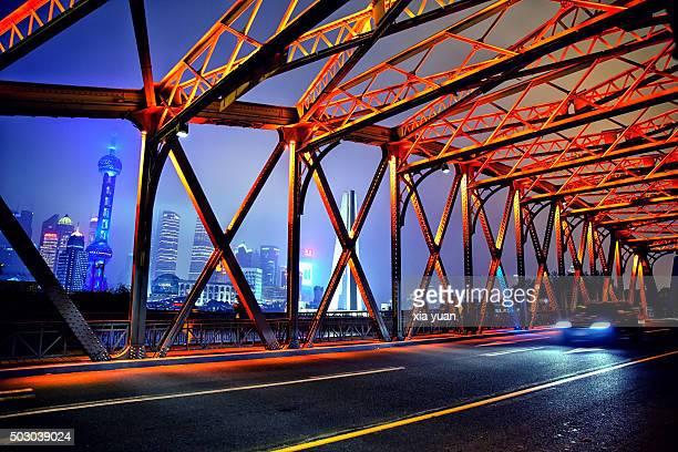 Nightview of the Waibaidu Bridge,Shanghai,China