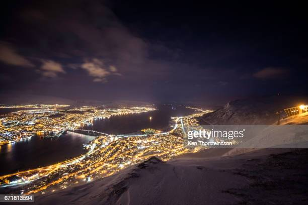 nightview on tromso in lofoten, norway - nacht stock pictures, royalty-free photos & images