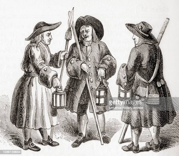 Nightwatchmen or Watchmen Organized groups of men employed to deter criminal activity and provide law enforcement as well performing services of...