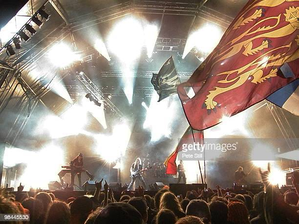 Nightwish perform on stage to an enthusiastic festival crowd including many waving large flags on poles, at Bloodstock Open Air on August 17th, 2008...