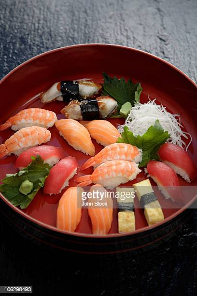 nigiri sushi combination on platter - daikon stock photos and pictures