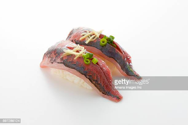 nigiri sushi with jack fish on top - jack fish stock pictures, royalty-free photos & images