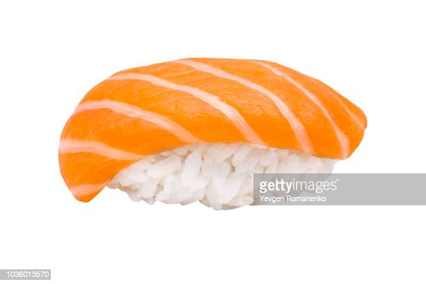 nigiri sushi with salmon isolated on white background - maki sushi stock pictures, royalty-free photos & images