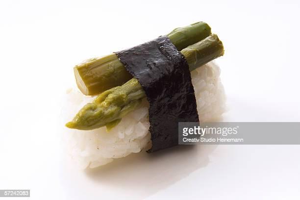 Nigiri-Sushi with green asparagus