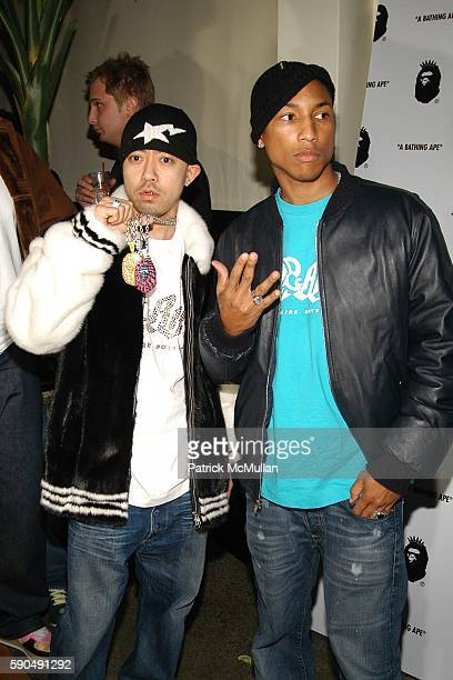 Nigo and Pharrell Williams attend Pharrell Williams Hosts the Store Opening of Nigo's 'A Bathing Ape' at A Bathing Ape Store on January 11 2005 in...