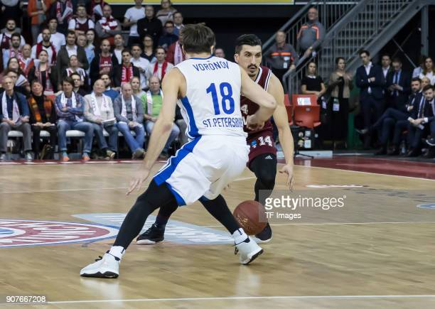 Nihad Djedovic of Muenchen and Evgeny Voronov of St Petersburg battle for the ball during the EuroCup Top 16 Round 3 match between FC Bayern Munich...