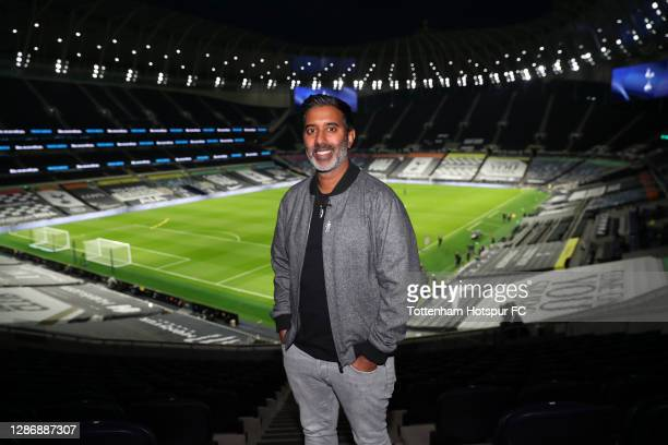 Nihal Arthanayake, BBC Radio 5 live presenter poses for a photo prior to the Premier League match between Tottenham Hotspur and Manchester City at...